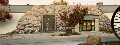 Historic Gold Mining Mural In Oroville California